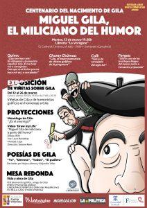 """Cartel de libre distribución para celebrar el centenario del nacimiento de Miguel Gila. """"Miguel Gila, miliciano del humor"""""""