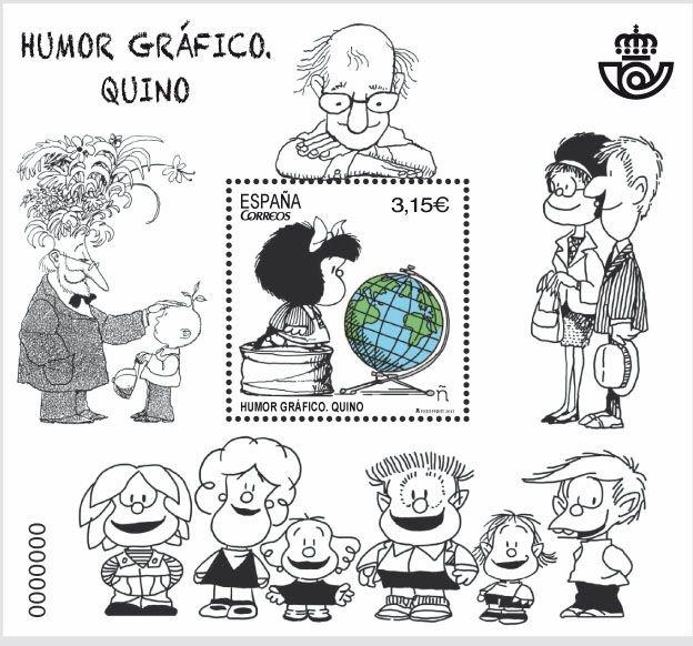 Emisión del sello en Correos España como homenaje a Quino en 2017.