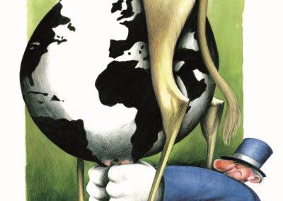 1992 - La vaca de la economía. Viñeta de Antonio Moreira Antunes