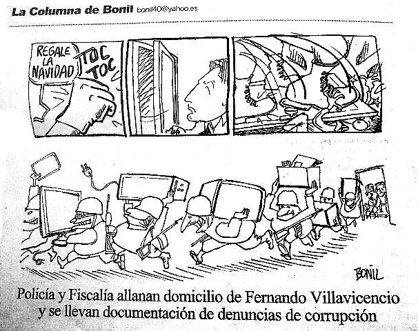 Viñeta que Bonil fue obligado a rectificar por la Ley de Comunicación en 2014 en Ecuador
